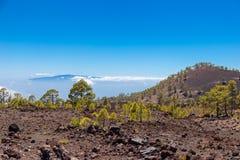 LaGomera sikt från Tenerife royaltyfri bild