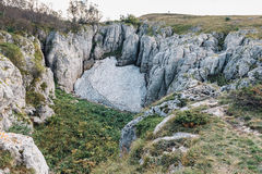 Lagonaki高原石灰岩地区常见的地形冰  免版税库存照片