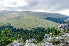 Lagonaki Plateau. Forest and mountain view from the top Royalty Free Stock Photography