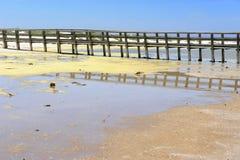 Lagoon. Wooden bridge crossing a lagoon stock photography