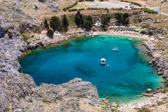 Lagoon. Looking down onto St Paul's Bay at Lindos on the Island of Rhodes Greece royalty free stock photography