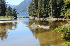 Lagoon at Anan Bear Observatory in Summer near Wrangell Alaska stock photo