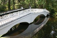 Lagoon bridge. Wooden bridge at Magnolia gardens in Charleston South Carolina Royalty Free Stock Photo
