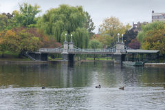 Lagoon Bridge at the Boston Public Gardens in Boston, Massachuse Stock Image