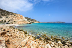 Lagoon with clear blue water at Crete island near Sitia town, Greece. Royalty Free Stock Image
