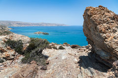 Lagoon with clear blue water at Crete island near Sitia town, Greece. Stock Photos