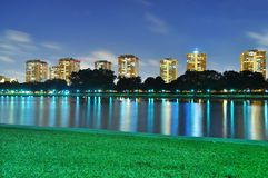 A lagoon at ECP with colourful light reflections Royalty Free Stock Photography