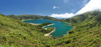 Lagoon of Fire at Sao Miguel (Azores islands). View over the Lagoon of Fire (Lagoa do Fogo) at Sao Miguel (Azores islands) - Panoramic view stock images