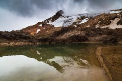 Lagoon formed by glacier. Melt by global warming, Cayambe, Ecuador Royalty Free Stock Photography
