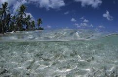 Lagoon french Polynesia. Lagoon, palm trees and turquoise water, french Polynesia Stock Photos