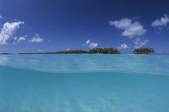 Lagoon french Polynesia. Lagoon, palm trees and turquoise water, french Polynesia Stock Images