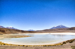 Lagoon at the highlands. Lagoon in the Andean highlands in Bolivia Stock Image