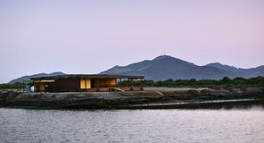 Lagoon House. A lagoon house alone in the scenic beauty of Kalba, UAE stock images