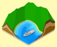 Lagoon isometric. coastline vector. relief Royalty Free Stock Photography