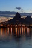 Lagoon (Lagoa) mountain in sunset Rio de Janeiro Royalty Free Stock Photography