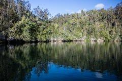 Lagoon and Limestone Island in Raja Ampat Stock Images