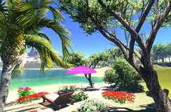 Lagoon with lounge and umbrella Royalty Free Stock Photos