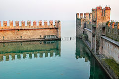 Lagoon in the old fortification. Of Scaliger Castle, Sirmione, Italy Royalty Free Stock Photo