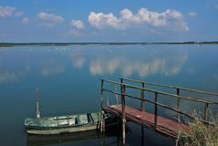 The lagoon of the The Pialassa della Baiona. Ravenna,Emilia Romagna,Italy The Pialassa della Baiona is a brackish lagoon that stretches for about 11 km2 in the stock images