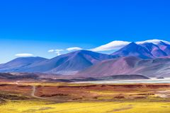 Lagoon Piedra Rojas and mountain landscape in the desert of Atacama in Chile. View on lagoon Piedra Rojas in the desert of Atacama in Chile Royalty Free Stock Images