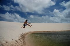 Lagoon plunging. Lençóis Maranhenses National Park, Maranhão, Brazil Stock Images