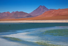 Lagoon Quepiaco and volcano Acamarachi, Chile Royalty Free Stock Image