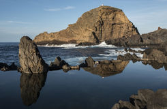 Lagoon between roks. In sunset in Madeira Royalty Free Stock Image