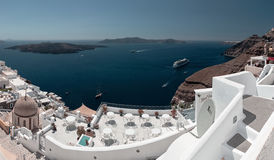 Lagoon of Santorini with white city of Fira in foreground. Stock Images