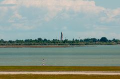 Venetian lagoon from Marco Polo airport in Venice. stock photo