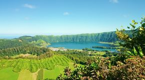 Lagoon of the Seven Cities, Azores stock photography