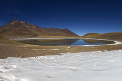 Lagoon with snow in Andes Stock Images