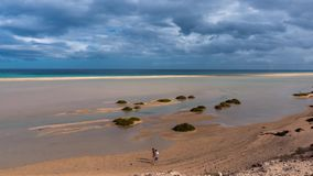 Lagoon sotavento, rising tide and movement of clouds, time-lapse hyper lapse. Fuerteventura Canary Islands stock video footage