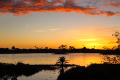 Lagoon sunset. Sunset over Malibu Lagoon state beach, Malibu California Royalty Free Stock Photo