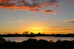 Lagoon sunset. Sunset over Malibu Lagoon state beach, Malibu California Stock Images