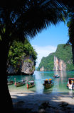 Lagoon in Thailand. Small lagoon with boats in Phang Nga Islands in Thailand stock photos