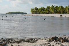 Lagoon tropical sea shore Tikehau French Polynesia Stock Images