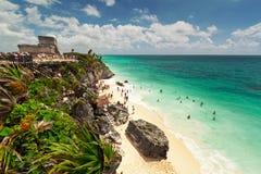 Lagoon of the Tulum beach. Idyllic beach of Tulum with people enjoying lagoon, Mexico Royalty Free Stock Images