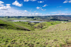 Lagoon Valley Park. Panoramic view of the Lagoon Valley Park in Vacaville, California, USA, featuring the chaparral in the winter with green grass, and the lake Royalty Free Stock Photography