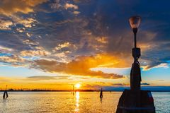 Lagoon and Venezia Mestre at sunset , Italy Royalty Free Stock Photo