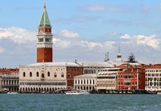 Lagoon of Venice with the bell tower of Saint Mark Royalty Free Stock Photos