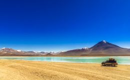 Lagoon Verde in the Altiplano of Bolivia stock images