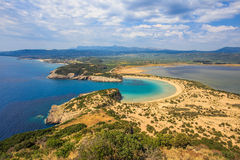 Lagoon of Voidokilia. Beautiful lagoon of Voidokilia from a high point of view, Messenia, Greece royalty free stock image