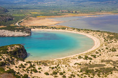 Lagoon of Voidokilia. Beautiful lagoon of Voidokilia from a high point of view, Messenia, Greece stock image
