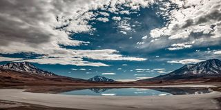LAGOON AND VOLCANOES BOLIVIA royalty free stock image