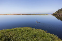 Lagoon Water Paddler Solitude Landscape Royalty Free Stock Photography