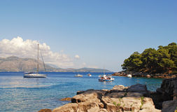 Lagoon with yacht (Croatia) Royalty Free Stock Photos