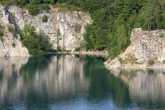 Lagoon Zakrzowek in an old limestone quarry, emerald water, Krakow, Poland Royalty Free Stock Photos