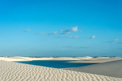 Lagoons in the desert of Lencois Maranhenses National Park Royalty Free Stock Image
