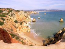 Lagos beach in Portugal. A view over the cliffs over the Lagos beach in Portugal Royalty Free Stock Image