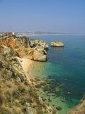 Lagos beach scene with grottos Royalty Free Stock Photos